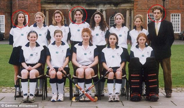 Hockey girls: Pippa (circled left) and Kate (centre) with teacher Richard Markham
