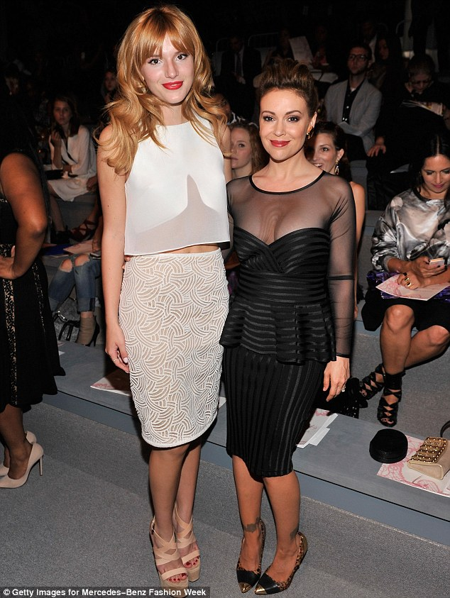 Front row fixture: Earlier in the day Bella attended the Tadashi Shoji show alongside Alyssa Milano