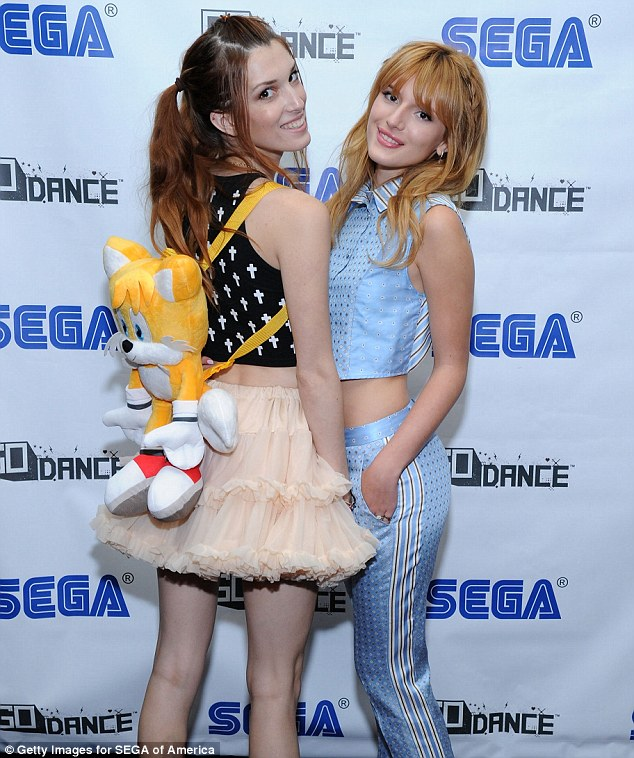 Sister act: Disney star Bella Thorne, 15, was accompanied by her sister Dani, 20, to the launch of the Sega Go Dance game on Thursday