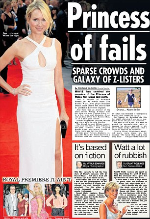 No good: The Sun panned the premiere for inviting a 'galaxy of Z-listers' and the film for being planin 'rubbish'