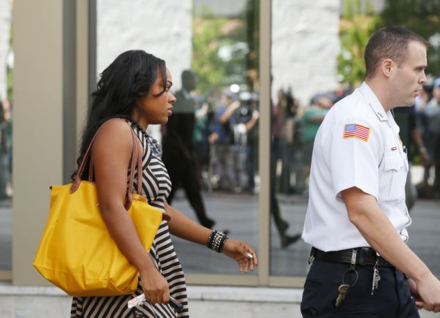 Stern: Shayanna Jenkins, fiancee of Aaron Hernandez, leaves the Bristol County Superior Court in Fall River