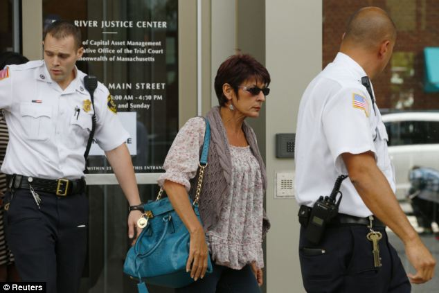 Sadness: His mother Terri Hernandez also leaves the court after he pleaded not guilty to the charges
