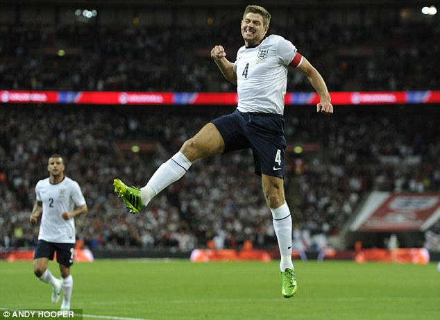 Opening salvo: Steven Gerrard made it 1-0 to England with a screamer