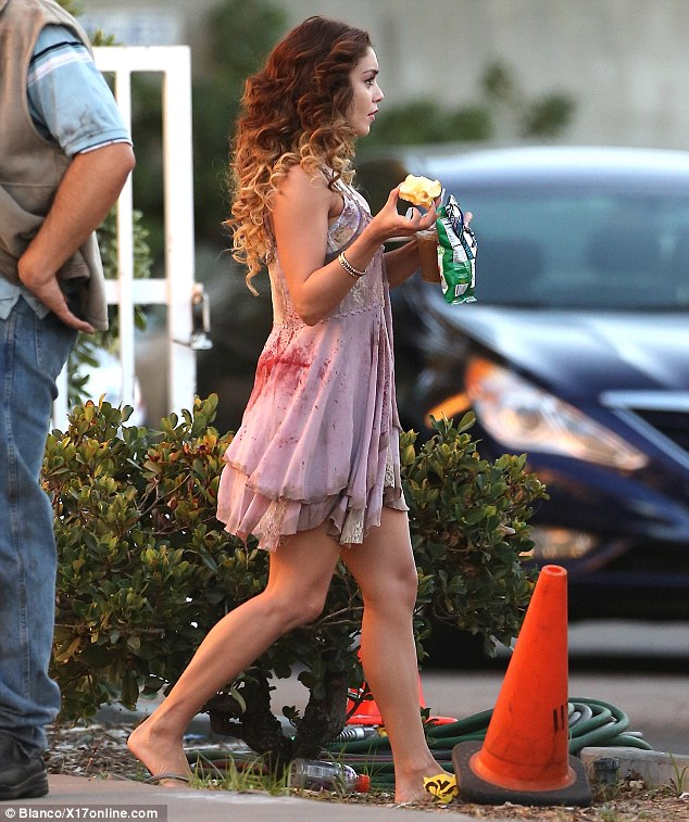Time for lunch: Vanessa Hudgens filming scenes for new zombie movie Kitchen Sink in Hollywood