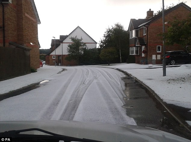 Winter's coming: The hail storm in Falmouth was said to have lasted around 15-20 minutes