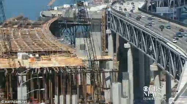 Pricey: The bridge cost $6.4 billion, nearly four times the original estimates from 1997 and is built to withstand the greatest seismic forces that are estimated to occur within a 1,500 year period