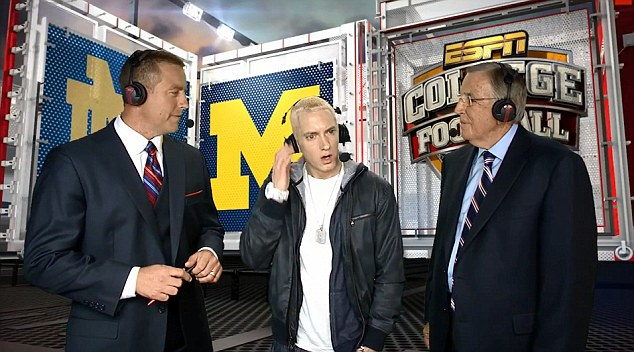 Live: Eminem told host Brent Musburger that live TV makes him uncomfortable but it was obvious from the start that something was amiss