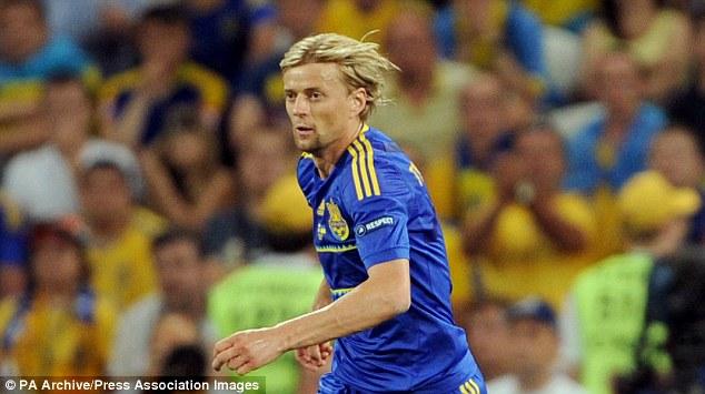 Steady: Anatoliy Tymoshchuk is a calming presence in the Ukraine midfield