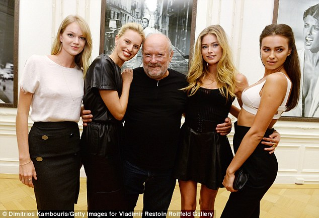 Surrounded by glamazons! Famed photographer Peter Lindbergh attracted some of fashion's hottest models for his exhibition on Manhattan's Upper East Side Saturday