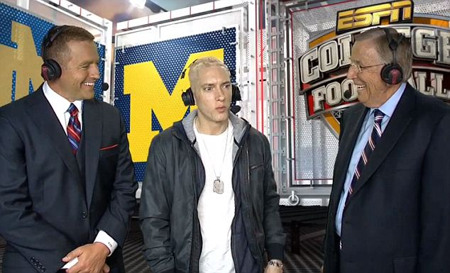 Softie? Eminem is known more for his tough guy persona than his soft spot for sports announcers but the ESPN appearance proves Marshall Mathers has an Achilles Heel
