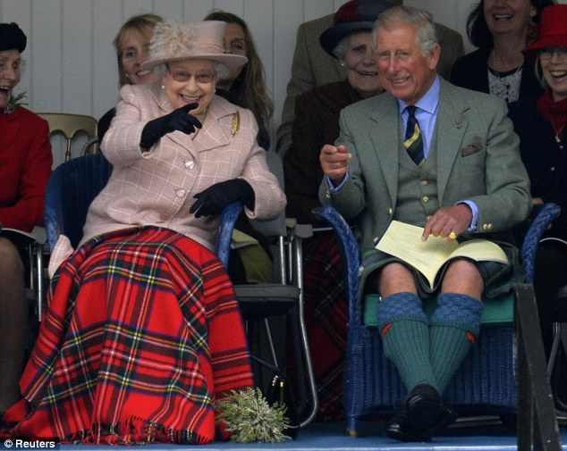 The Queen, pictured yesterday with Prince Charles watch competitors at the Highland Games in Braemar, Scotland, was told of the incident