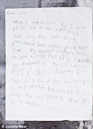 The start of a career in complaining: Ingrid penned this letter when she was eight after receiving a dud prize at a village funfair, and hasn't stopped complaining ever since