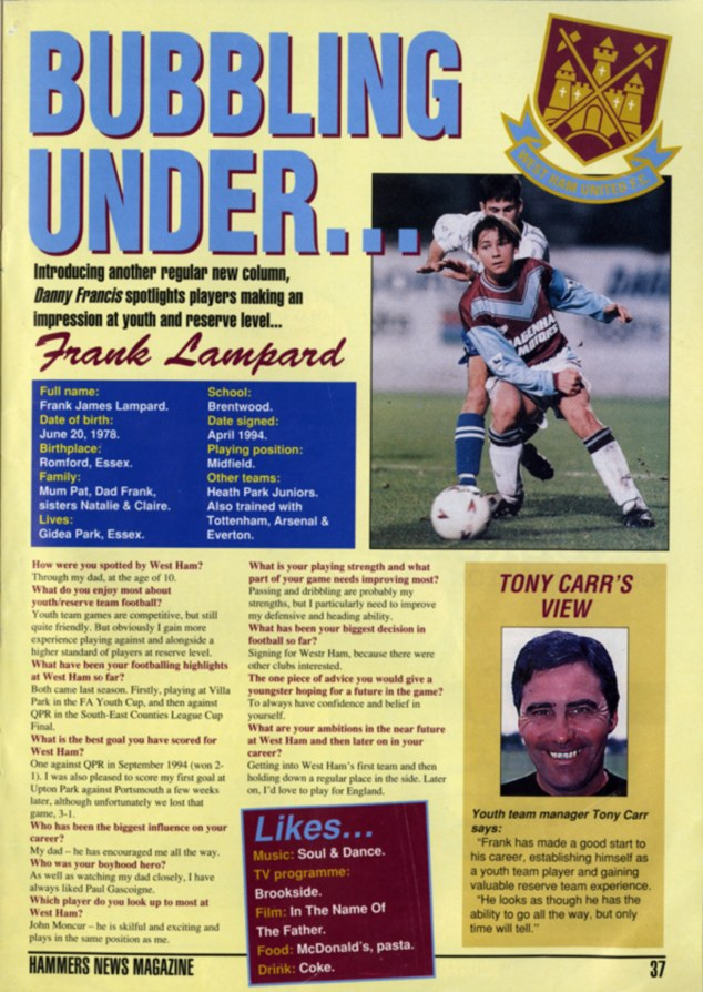 Dan Francis - First interview with Frank Lampard in 1995
