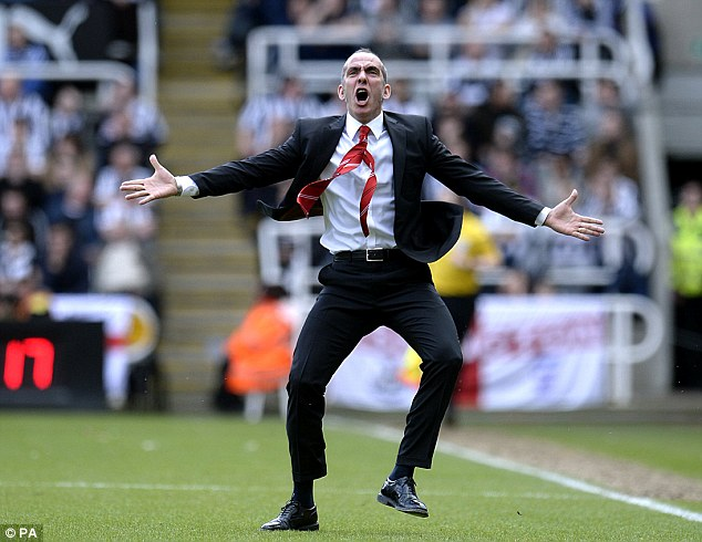 Antics: Di Canio ran down the St James' Park touchline to celebrate Sunderland's goals in the 3-0 win there in April