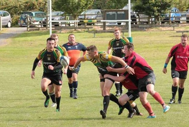 Defeat: Holyhead Rugby Union XV's are pictured losing in spectacular fashion to  Llanidloes on Saturday, with a final score of 181-0
