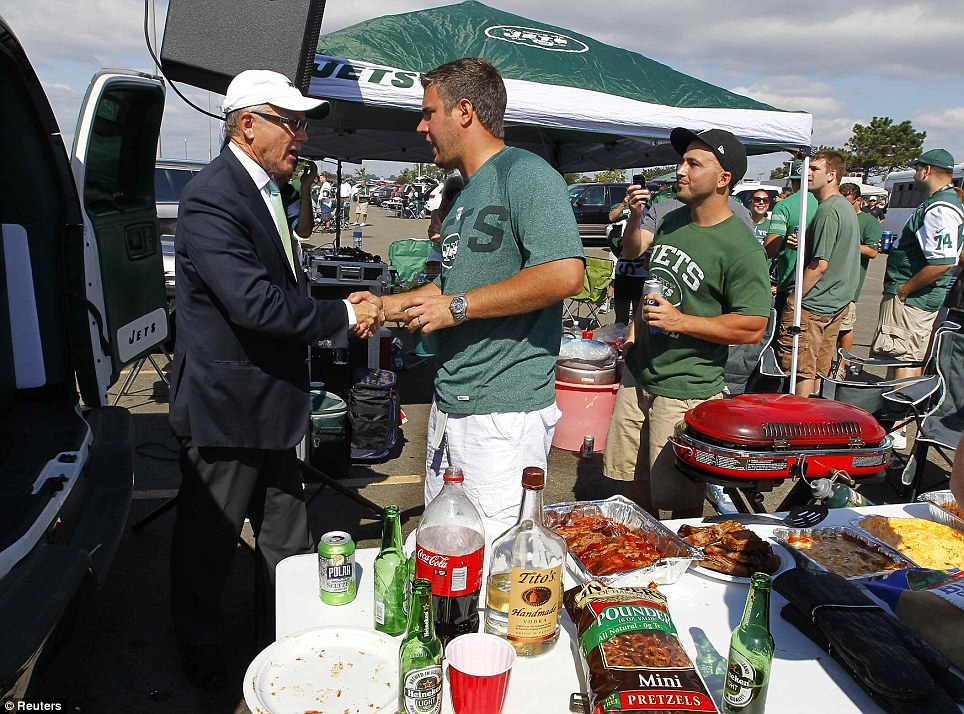 Special guest: New York Jets owner Woody Johnson greeted fans in the car park before the match