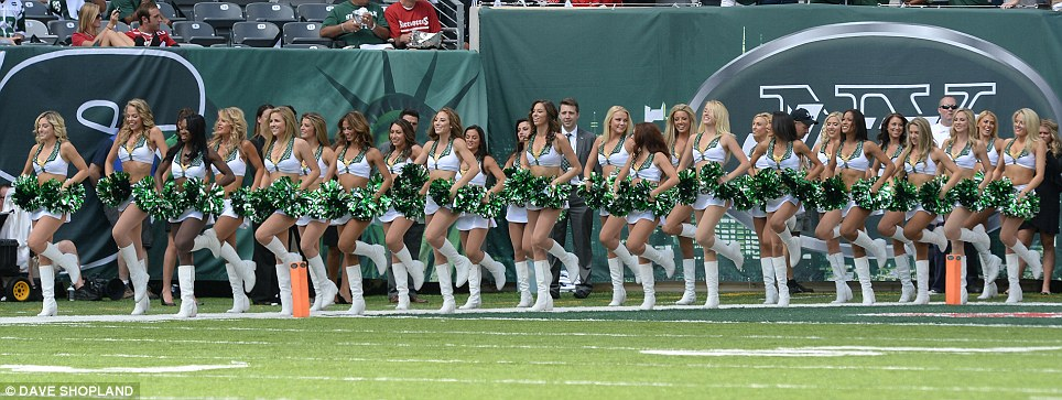 Entertainment: The New York Jets cheerleaders enter the stadium in New Jersey