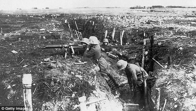 German machine gun unit in a trench