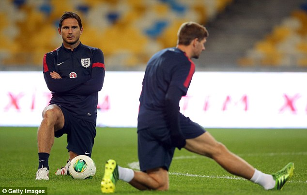 Middle men: Frank Lampard is set to join fellow midfielder Steven Gerrard in the England 100 club