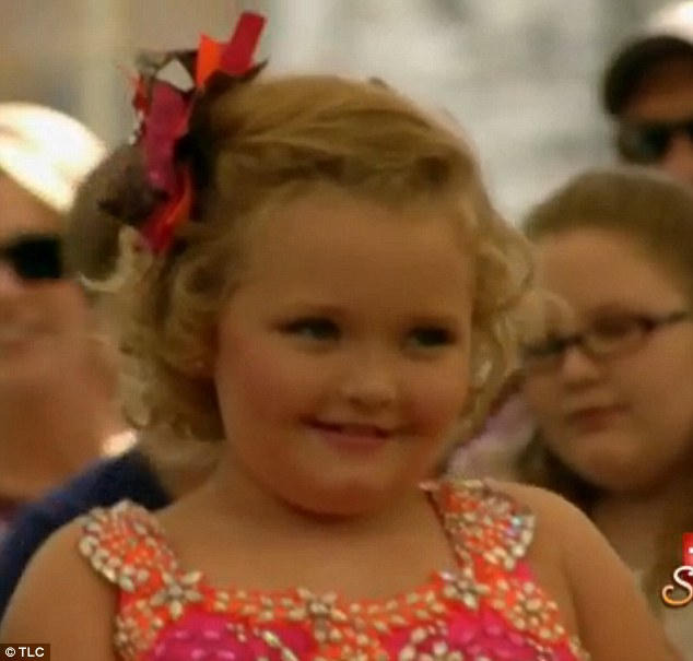 Happy girl: Honey Boo Boo looked pleased at the ceremony