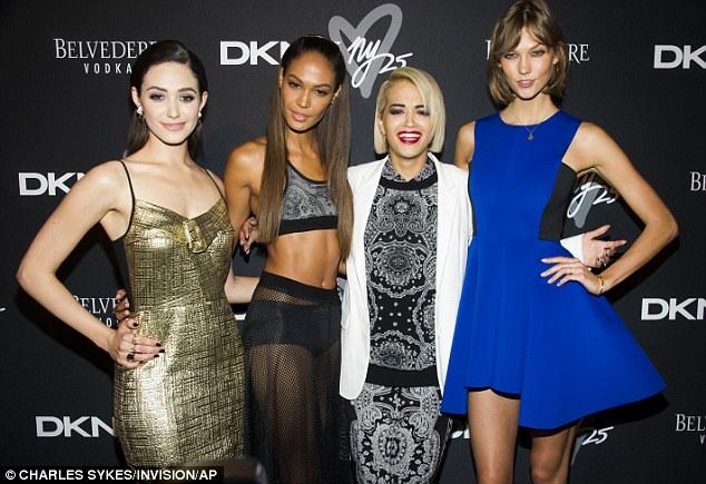 VIPs: Emmy Rossum, Joan Smalls, Rita Ora and Karlie Kloss pose together at the DKNY 25 Birthday Bash