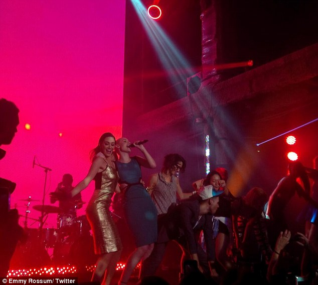 Impromptu: Emmy Rossum takes the stage with critically-acclaimed rapper Iggy Azalea before revealing that she 'twerked'