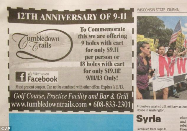 Uproar: An advertisement that appeared in the Wisconsin State Journal on Monday offers nine holes of golf for $9.11 to mark the anniversary of the September 11 terrorist attacks