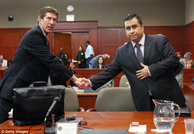 Split: Defense attorney Mark O'Mara, left, has said he will no longer be representing George Zimmerman. They are pictured together in court in July during Zimmerman's murder trial
