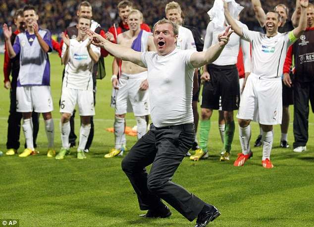 All smiles: Viktoria Plzen Coach Pavel Vrba celebrates after his side qualified for this year's Champions League