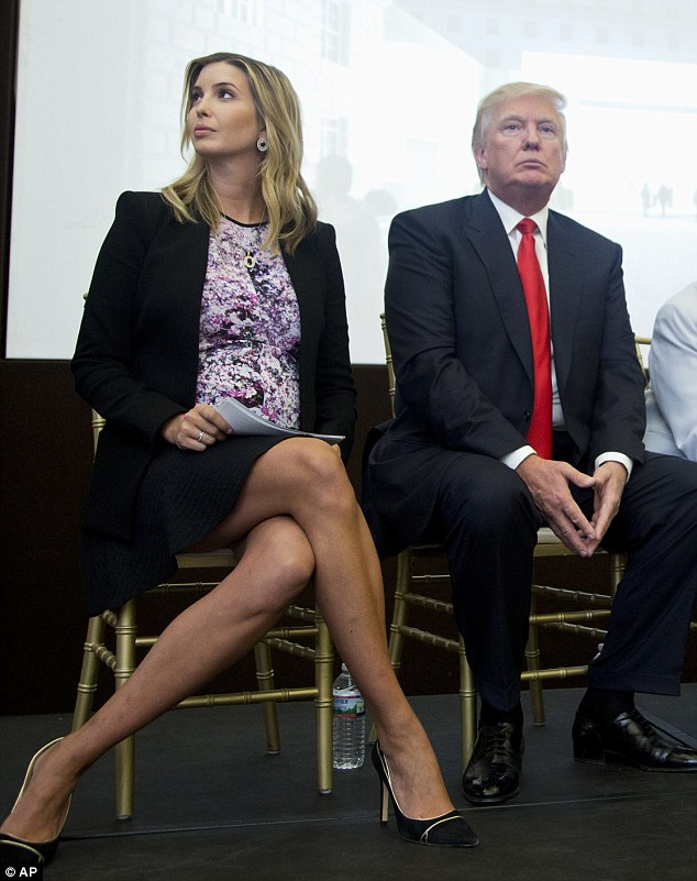 Business chic: Despite being due in just a few weeks, Ivanka Trump  (pictured with her father Donald, right) hasn't once let her pregnancy hamper her style