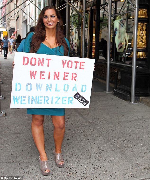 Different kind of support: Sydney Leathers was using the primary attention to promote her new song