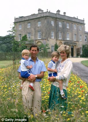 Royal family home: Prince Charles, Prince of Wales and Diana, Princess of Wales pose with their sons Prince William and Prince Harry in the wild flower meadow at Highgrove in Tetbury, England