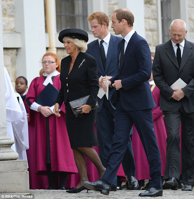 Close: William and Harry are good friends with Mr Van Cutsem's four sons, as the group are roughly the same age