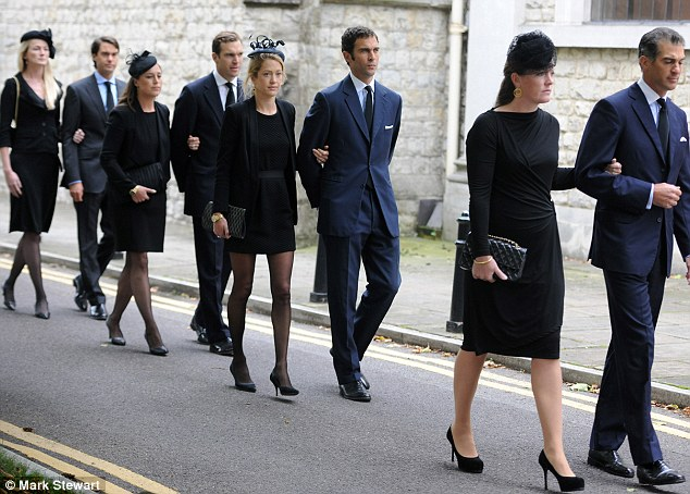 Sons and wives: (front to back) Edward and Lady Tamara, Hugh and Rose, Alice and Nicholas and William and Rosie van Cutsem, file towards the cathedral