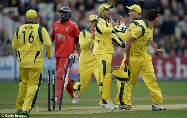 Joy and despair: The Australians celebrate as Carberry (second left) is run out