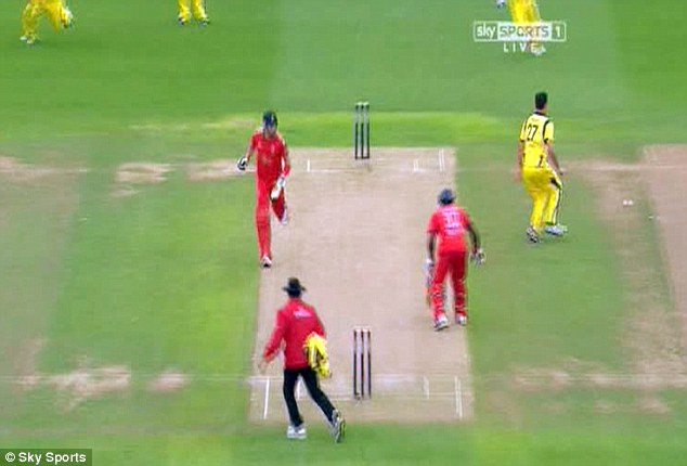 Going... Kevin Pietersen is already halfway down the wicket as Michael Carberry hesitates