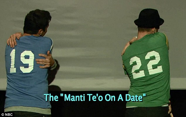 Making out with myself:  Manti Te¿o was not spared either, with JT and Jimmy turning their backs and making out with themselves, mocking the football star who claimed he had no idea that his online girlfriend was a fake