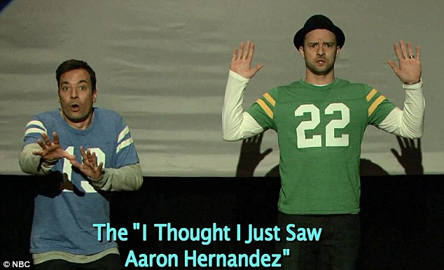 Taking a dig: Meanwhile, one of the more controversial moves was the pair's 'I Thought I Just Saw Aaron Hernandez'