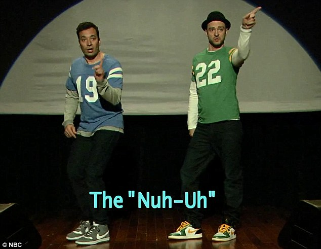 Matching: Wearing matching football jerseys, the duo demonstrated some hilarious 'End Zone' moves, including The 'Dirty Bird', The 'Ickey Shuffle', The 'Nuh-Uh' and The 'Old-Timey Railway Cart'