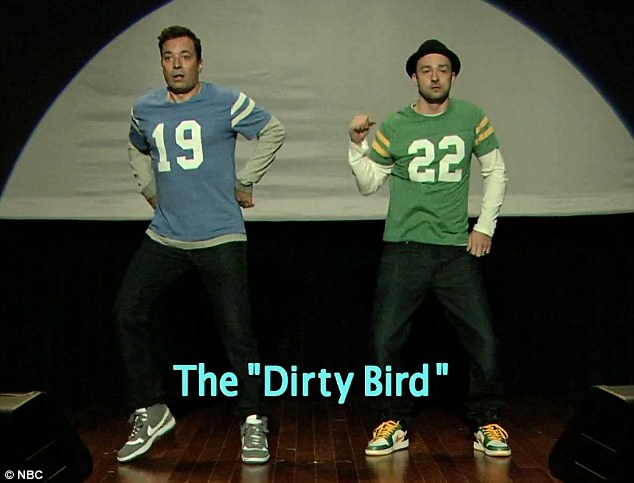Doing the 'Dirty Bird': Justin Timberlake and Jimmy Fallon did a hilarious take on End Zone Dancing on the funnyman's show Late Night With Jimmy Fallon on Tuesday night