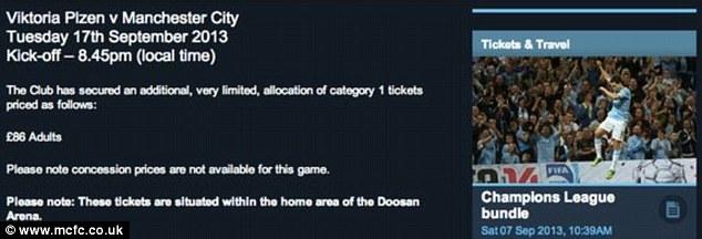 Manchester City tickets