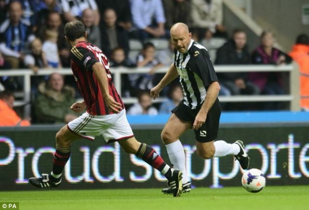 Rolling back the years: Club record goalscorer Alan Shearer couldn't find the back of the net on his return