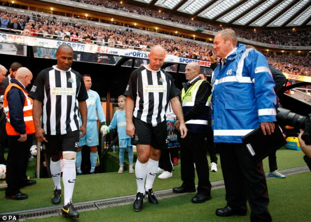 Reunited: Alan Shearer and Les Ferdinand started the game up-front together
