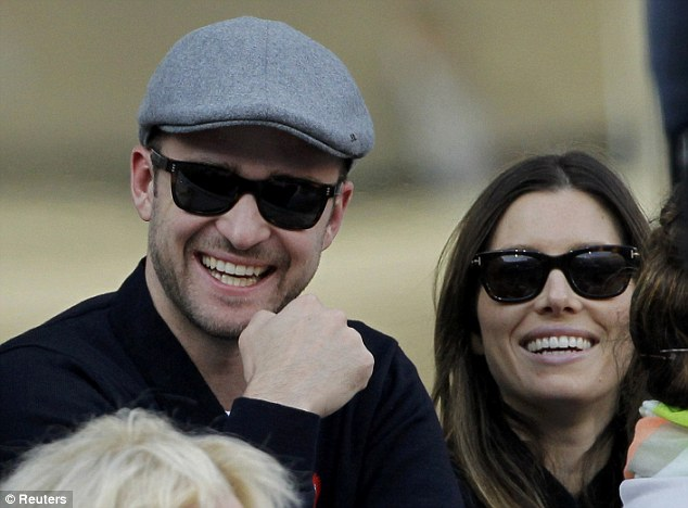 Happily married: Jessica and Justin, seen here at the tennis this week, have been married for over 11 months