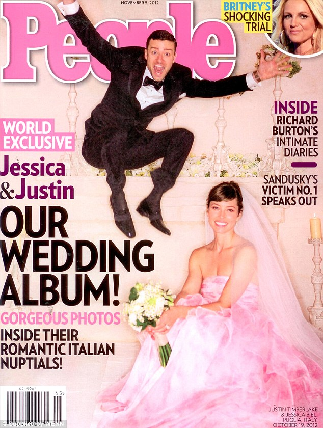 Think pink! Jessica wore a pink wedding dress when she tied the knot with Justin last year in October