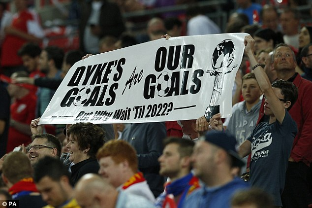 Making their point: England fans hold a banner referencing FA Chairman Greg Dyke's speech