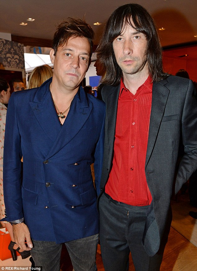 Rockers united: The Kills Jamie Hince and Primal Scream's Bobby Gillespie hang out together at the men's fashion event on Wednesday