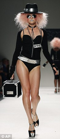 Pink hair and skimpy black outfits such as this proved to be a recurrent theme at Betsey's show