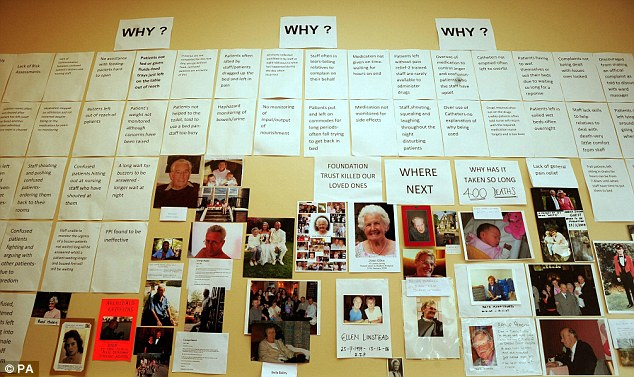 British patients were found to be almost 50 per cent more likely to die from poor care than those in America. Pictured is a tribute wall  in memory of patients who have died at Stafford Hospital