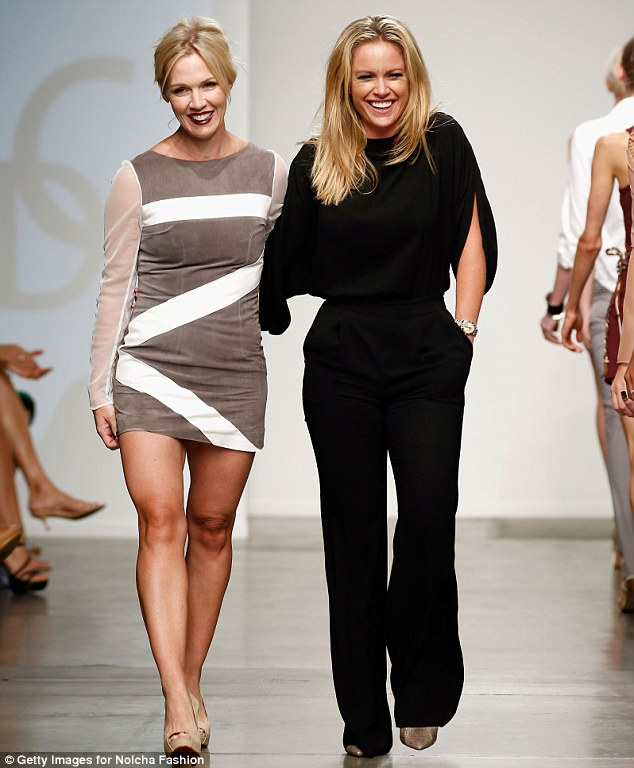 Model and maker: Jennie and designer Aerin O'Connell walk the runway